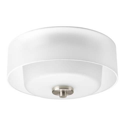 Progress Lighting Flushmount Light with White Glass in Brushed Nickel Finish P3693-09