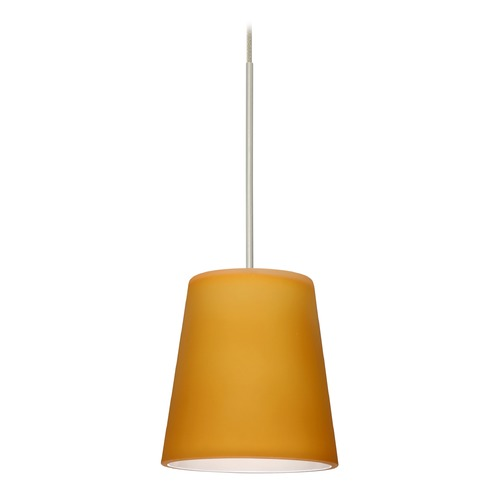 Besa Lighting Besa Lighting Canto Satin Nickel LED Mini-Pendant Light with Conical Shade 1XT-513180-LED-SN