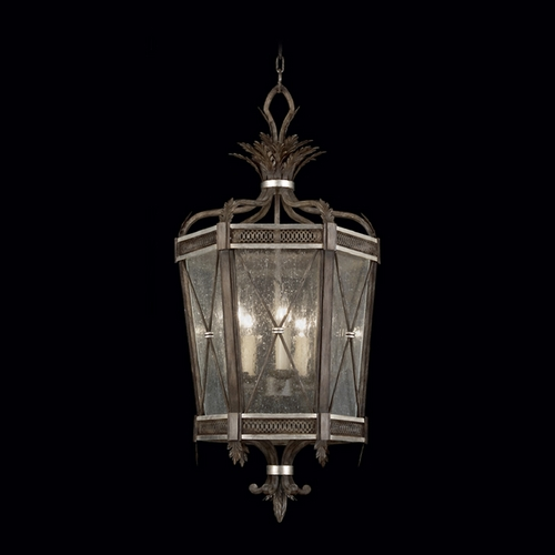 Fine Art Lamps Fine Art Lamps Villa Vista Hand Painted Driftwood with Silver Leafed Accents Pendant Light with Hexa 809440ST