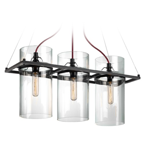 Sonneman Lighting Sonneman Square Ring Satin Black 3 Light Pendant Light   4763.25
