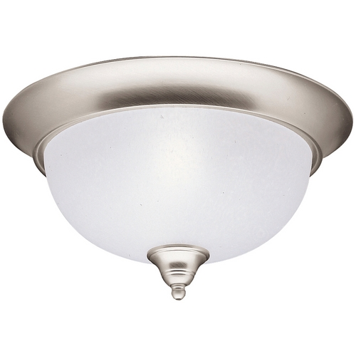 Kichler Lighting Kichler Flushmount Light with White Glass in Brushed Nickel Finish 8064NI