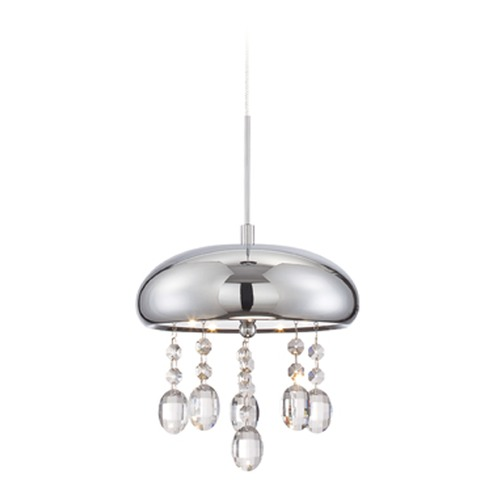 Lite Source Lighting Lite Source Andrea Chrome LED Mini-Pendant Light with Bowl / Dome Shade LS-19590