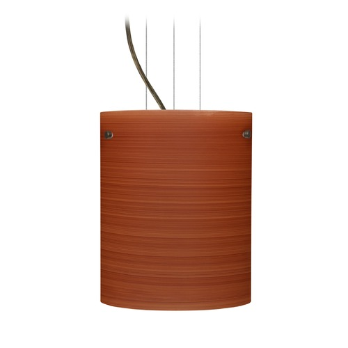 Besa Lighting Besa Lighting Tamburo Bronze LED Mini-Pendant Light with Cylindrical Shade 1KG-4006CH-LED-BR