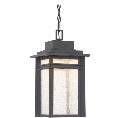 Quoizel Lighting Seeded Glass LED Outdoor Hanging Light Black Quoizel Lighting BEC1909SBK