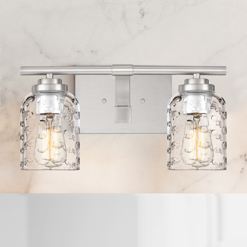 Quoizel Lighting Quoizel Cristal Brushed Nickel 2-Light Bathroom Light with Clear Bubble Cut Glass Shades CRI8602BN