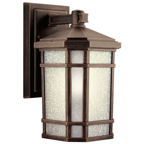 Kichler Lighting Kichler Outdoor Wall Light with White Glass in Prairie Rock Finish 11017PR