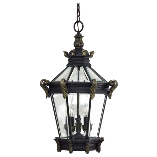 Minka Lavery Outdoor Hanging Light with Clear Glass in Heritage W/gold Highlights Finish 8934-95