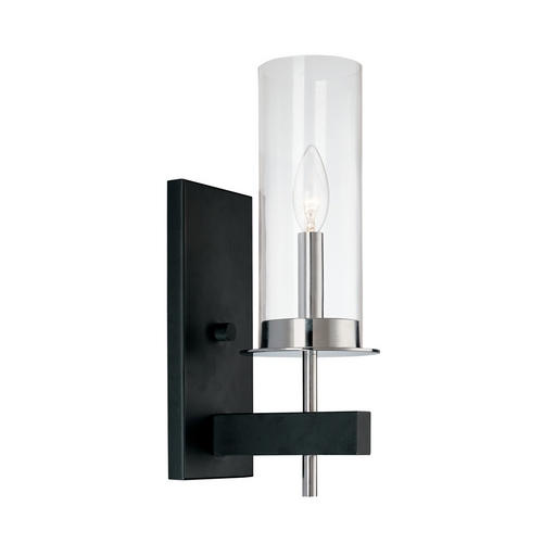 Sonneman Lighting Modern Sconce Wall Light with Clear Glass in Chrome/Black Finish 4060.54