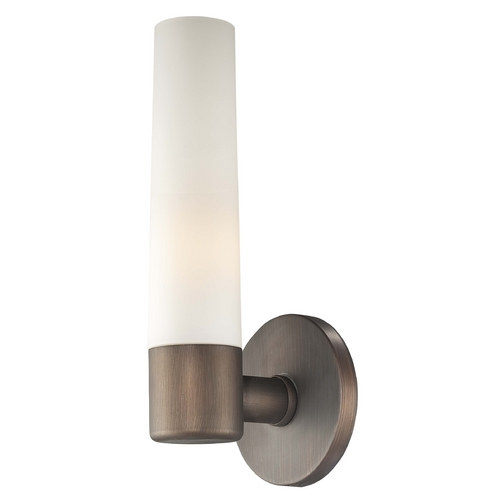 George Kovacs Lighting Modern Sconce with White Glass Shade in Copper Bronze Patina Finish P5041-647B