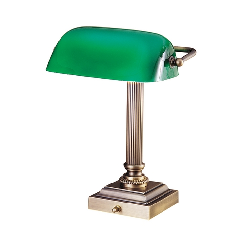 House of Troy Lighting Piano / Banker Lamp with Green Glass in Antique Brass Finish DSK428-G71