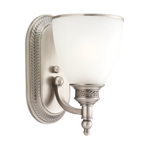 Sea Gull Lighting Sconce Wall Light with White Glass in Antique Brushed Nickel Finish 41350-965