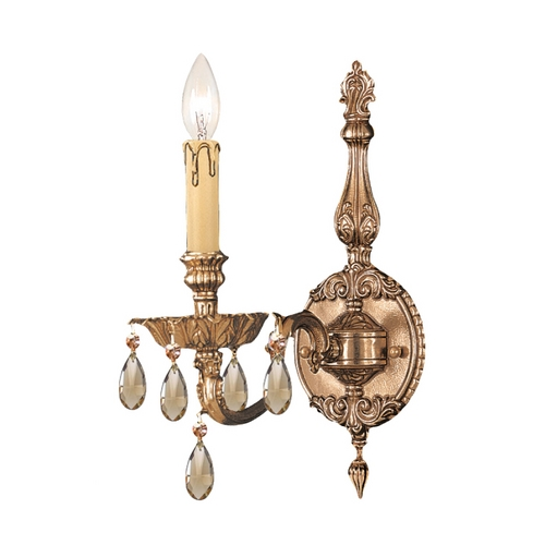 Crystorama Lighting Crystal Sconce Wall Light in Olde Brass Finish 2501-OB-GT-MWP