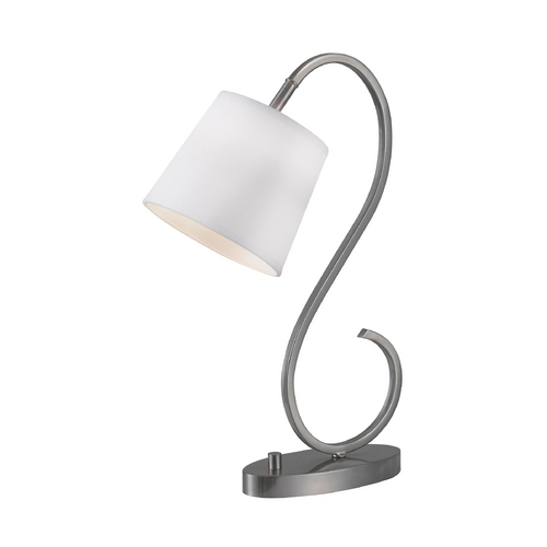Kenroy Home Lighting Modern Desk Lamp with White Shade in Brushed Steel Finish 32009BS