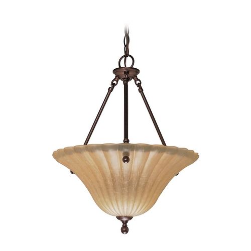 Nuvo Lighting Pendant Light with Beige / Cream Glass in Copper Bronze Finish 60/2408