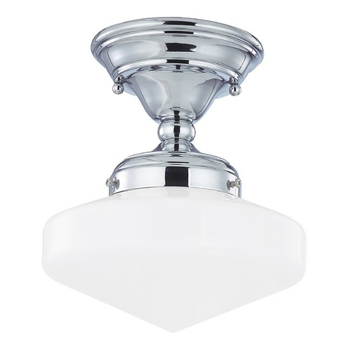 Design Classics Lighting 8-Inch Vintage Style Schoolhouse Ceiling Light in Chrome FAS-26 / GE8