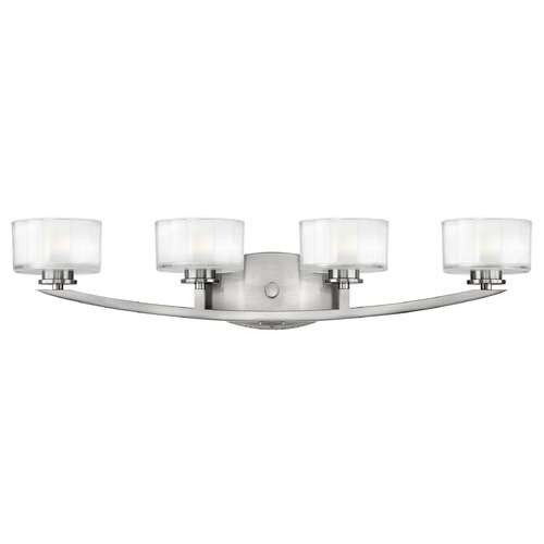 Hinkley Lighting Bathroom Light with White Glass in Brushed Nickel Finish 5594BN
