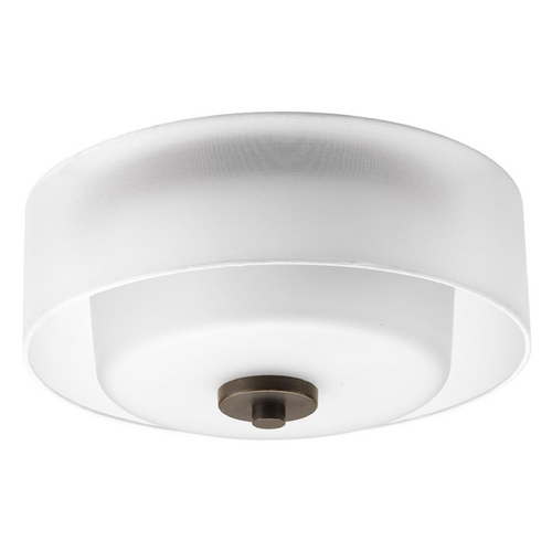 Progress Lighting Flushmount Light with White Glass in Antique Bronze Finish P3693-20