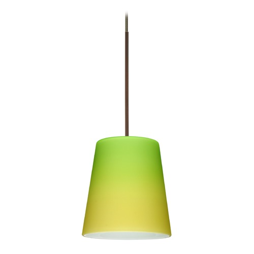 Besa Lighting Besa Lighting Canto Bronze LED Mini-Pendant Light with Conical Shade 1XT-5131GY-LED-BR