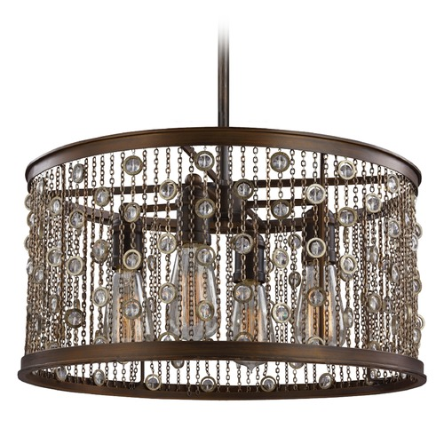 Feiss Lighting Feiss Lighting Colorado Springs Chestnut Bronze Pendant Light F3045/4CSTB