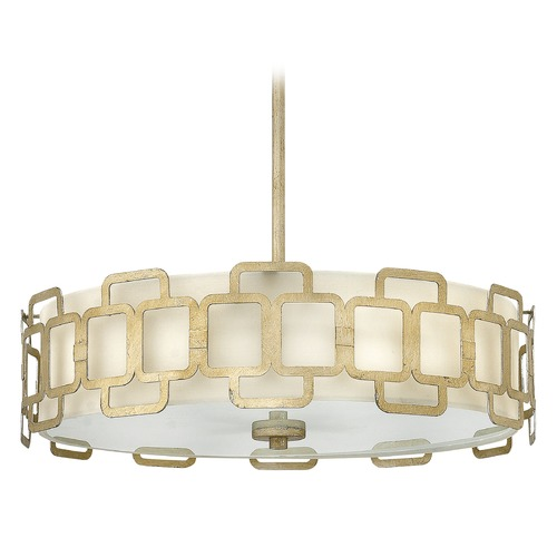 Hinkley Lighting Hinkley Lighting Sabina Silver Leaf Pendant Light with Cylindrical Shade 4914SL