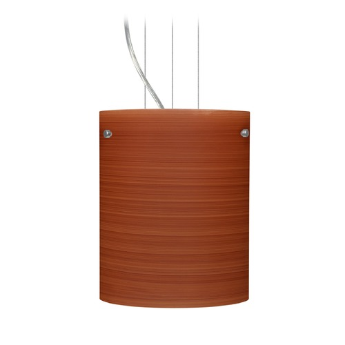 Besa Lighting Besa Lighting Tamburo Satin Nickel LED Mini-Pendant Light with Cylindrical Shade 1KG-4006CH-LED-SN