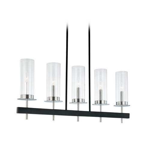Sonneman Lighting Modern Island Light with Clear Glass in Chrome/black Finish 4065.54