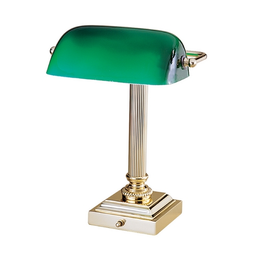 House of Troy Lighting Piano / Banker Lamp with Green Glass in Polished Brass Finish DSK428-G61