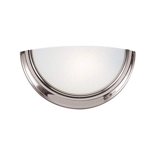 Sea Gull Lighting Modern Sconce Wall Light with White Glass in Brushed Nickel Finish 4135-962