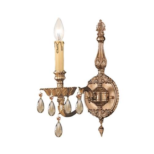 Crystorama Lighting Crystal Sconce Wall Light in Olde Brass Finish 2501-OB-GTS