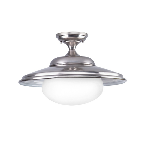 Hudson Valley Lighting Semi-Flushmount Light with White Glass in Satin Nickel Finish 9109-SN