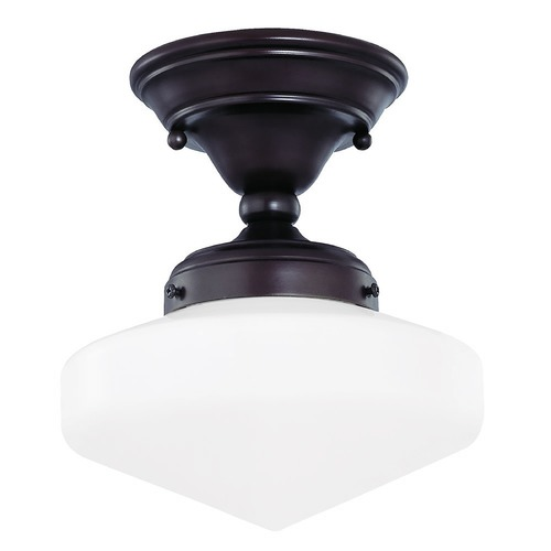 Design Classics Lighting 8-Inch Vintage Style Schoolhouse Ceiling Light in Bronze FAS-220 / GE8