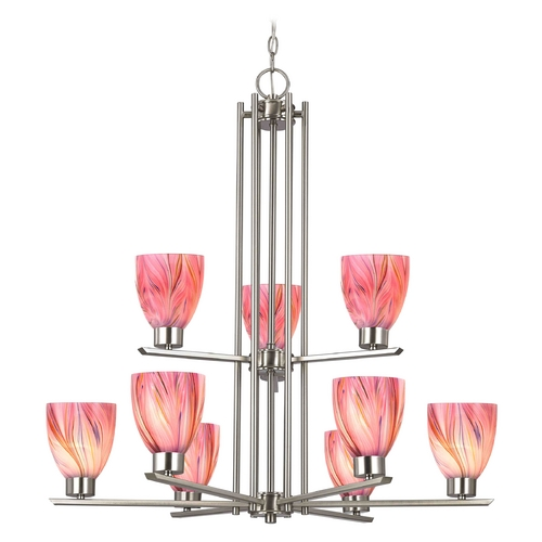 Design Classics Lighting Modern Chandelier with Pink Glass in Satin Nickel Finish 1122-1-09 GL1004MB