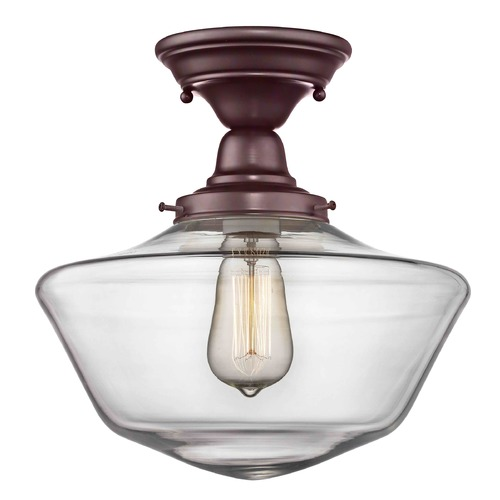 Design Classics Lighting 12-Inch Clear Glass Schoolhouse Semi-Flush Ceiling Light In Bronze Finish FBS-220 / GA12-CL