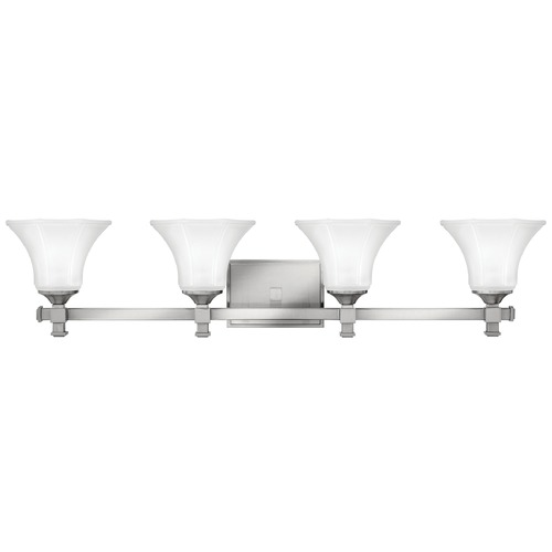 Hinkley Lighting Bathroom Light with White Glass in Brushed Nickel Finish 5854BN