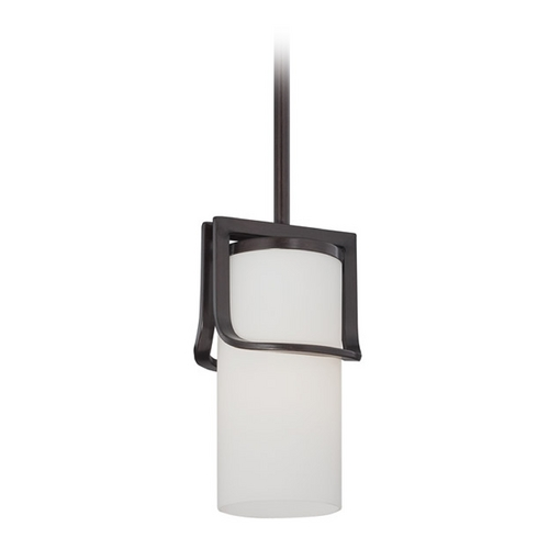 Nuvo Lighting Mini-Pendant Light with White Glass in Russet Bronze Finish 60/5237