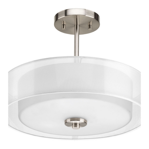 Progress Lighting Semi-Flushmount Light with White Silk Mylar/Glass in Brushed Nickel P3694-09