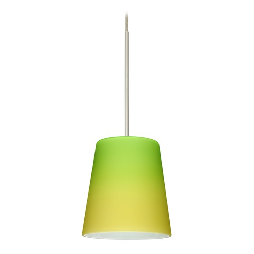 Besa Lighting Besa Lighting Canto Satin Nickel LED Mini-Pendant Light with Conical Shade 1XT-5131GY-LED-SN