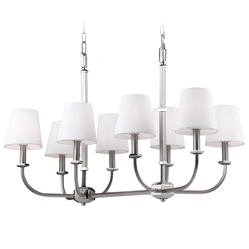 Feiss Lighting Feiss Lighting Pentagram Satin Nickel / Polished Nickel Island Light with Empire Shade F3051/8SN/PN