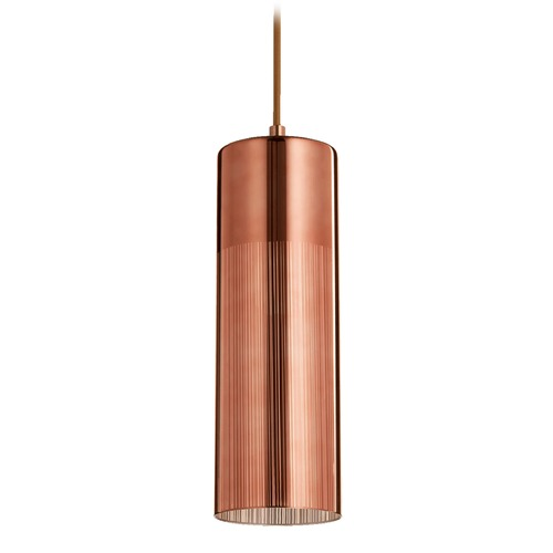 Quorum Lighting Quorum Lighting Satin Copper Mini-Pendant Light with Cylindrical Shade 838-4949