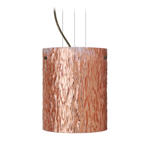 Besa Lighting Besa Lighting Tamburo Bronze LED Mini-Pendant Light with Cylindrical Shade 1KG-4006CS-LED-BR