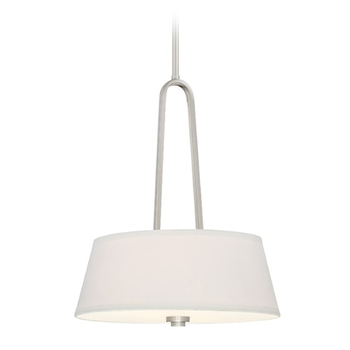 Designers Fountain Lighting Designers Fountain Studio Satin Platinum Pendant Light with Drum Shade 88531-SP