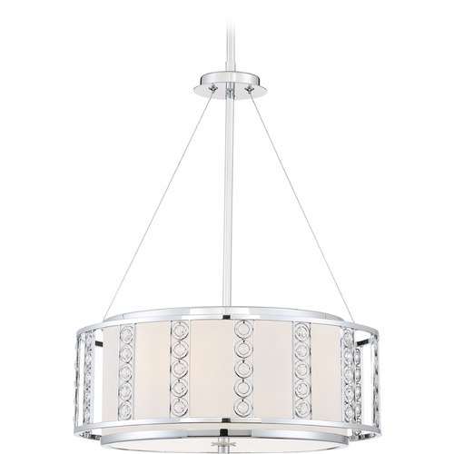 Quoizel Lighting Quoizel Lighting Platinum Collection Sylvan Polished Chrome Pendant Light with Drum Shade PCSN2817C