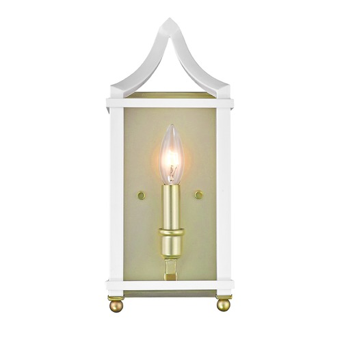Golden Lighting Leighton SB Wall Sconce in Satin Brass with White 8401-WSCSB-WH