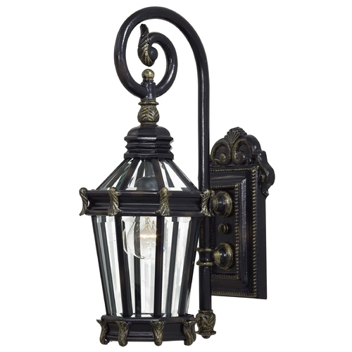 Minka Lavery Outdoor Wall Light with Clear Glass in Heritage W/gold Highlights Finish 8930-95
