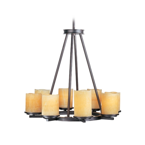 Maxim Lighting Chandelier with Beige / Cream Glass in Rustic Ebony Finish 21145SCRE