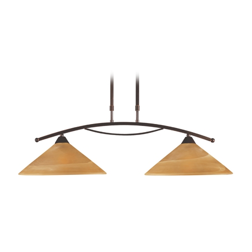 Elk Lighting Modern Pendant Light with Beige / Cream Glass in Aged Bronze Finish 6551/2