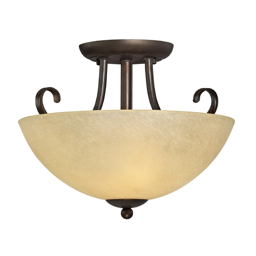 Design Classics Lighting Rustic Two-Light Semi-Flushmount Ceiling Light 1103-78