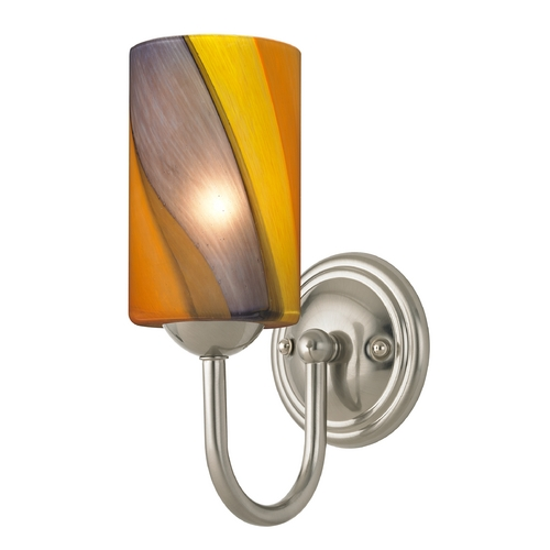 Design Classics Lighting Sconce with Art Glass in Satin Nickel Finish 593-09 GL1015C