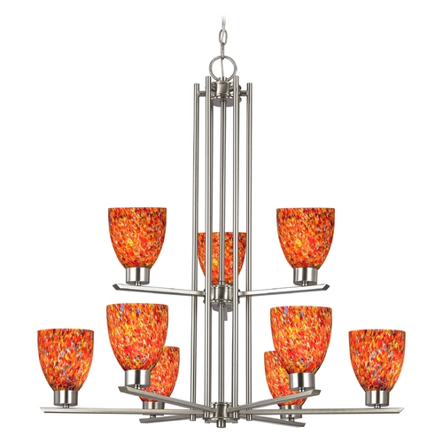 Design Classics Lighting Modern Chandelier with Multi-Color Glass in Satin Nickel Finish 1122-1-09 GL1012MB