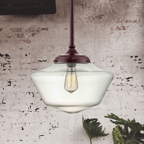 Design Classics Lighting 14-Inch Bronze Clear Glass Schoolhouse Pendant Light FA6-220 / GA14-CL
